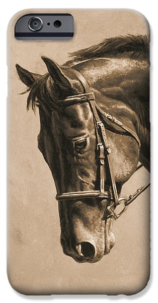 Chestnut Horse iPhone Cases - Dressage Horse Sepia Phone Case iPhone Case by Crista Forest
