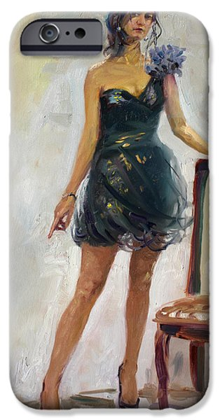 Standing Paintings iPhone Cases - Dressed Up Girl iPhone Case by Ylli Haruni