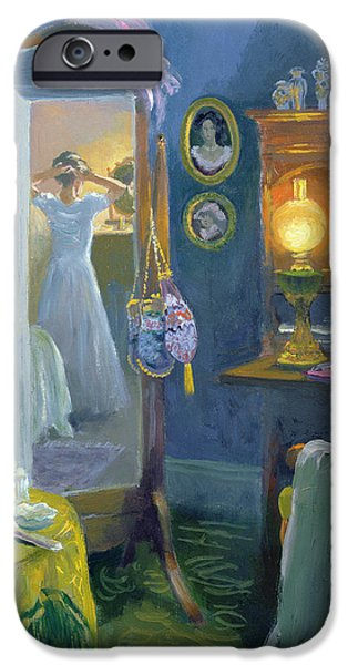 Oil Lamp Photographs iPhone Cases - Dressing Room Victorian Style Oil On Board iPhone Case by William Ireland