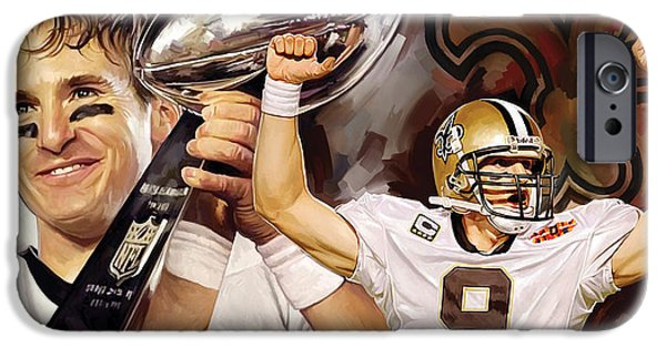 Quarterback iPhone Cases - Drew Brees New Orleans Saints Quarterback Artwork iPhone Case by Sheraz A