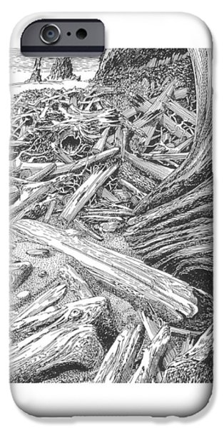 North Sea Drawings iPhone Cases - Driftwood Beach Cape Flattery iPhone Case by Jack Pumphrey
