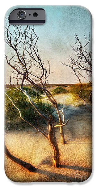 Paint Photograph iPhone Cases - Driftwood Sand Dunes and Lighthouses II iPhone Case by Dan Carmichael