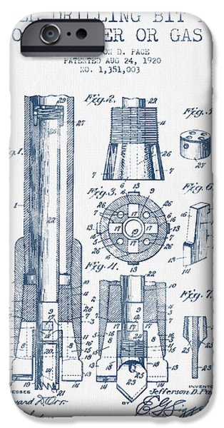Industry iPhone Cases - Drilling Bit for Oil Water Gas Patent From 1920 -  Blue Ink iPhone Case by Aged Pixel