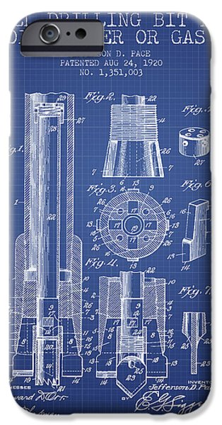 Industry iPhone Cases - Drilling Bit for Oil Water Gas Patent From 1920 - Blueprint iPhone Case by Aged Pixel
