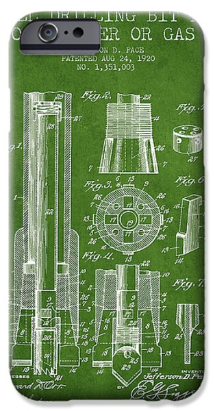 Industry iPhone Cases - Drilling Bit for Oil Water Gas Patent From 1920 - Green iPhone Case by Aged Pixel