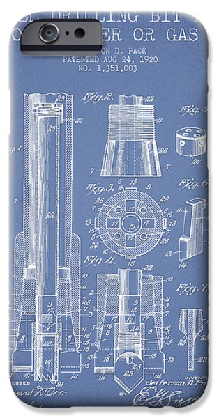 Industry iPhone Cases - Drilling Bit for Oil Water Gas Patent From 1920 - Light Blue iPhone Case by Aged Pixel