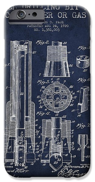 Industry iPhone Cases - Drilling Bit for Oil Water Gas Patent From 1920 - Navy Blue iPhone Case by Aged Pixel