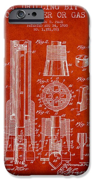 Industry iPhone Cases - Drilling Bit for Oil Water Gas Patent From 1920 - Red iPhone Case by Aged Pixel