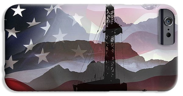 Patriotism Mixed Media iPhone Cases - DRILLING for AMERICA iPhone Case by Daniel Hagerman