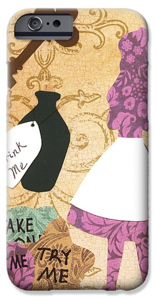 March Hare iPhone Cases - Drink Me Eat Me iPhone Case by Savannah Bertozzi