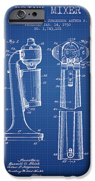 Technical iPhone Cases - Drink Mixer Patent from 1930 - Blueprint iPhone Case by Aged Pixel