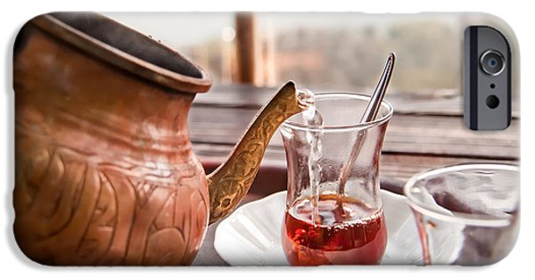 Friends Meeting iPhone Cases - Drinking Turkish Tea iPhone Case by Leyla Ismet