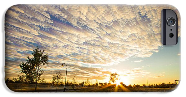 Field. Cloud Digital Art iPhone Cases - Drive By Sunset  iPhone Case by Jackie Novak