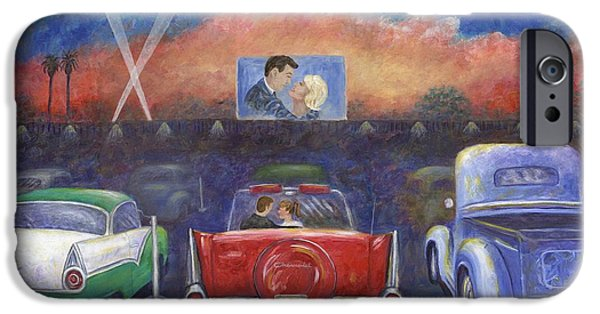 1950s Movies Paintings iPhone Cases - Drive-in Movie Theater iPhone Case by Linda Mears