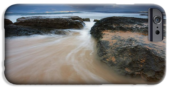 Knights Beach iPhone Cases - Driven Between the Rocks iPhone Case by Mike Dawson