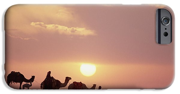 Bedouin iPhone Cases - Dromedary Camels And Bedouins Sahara iPhone Case by Gerry Ellis