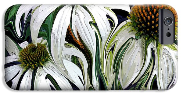 Abstracted Coneflowers Paintings iPhone Cases - Droopy Daisies iPhone Case by Suzy Freeborg