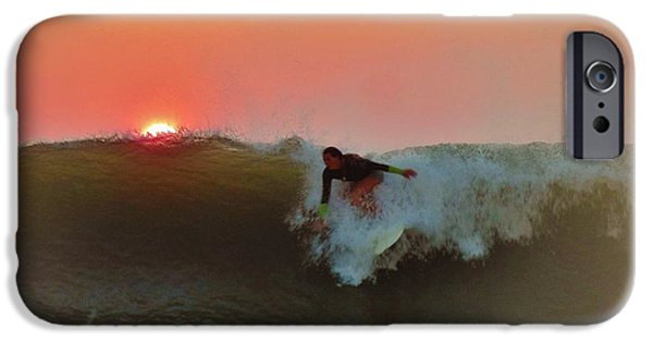 Boat iPhone Cases - Dropping in at Sunrise 5 10/2 iPhone Case by Mark Lemmon