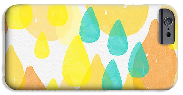 Abstracts iPhone Cases - Drops of Sunshine- abstract painting iPhone Case by Linda Woods