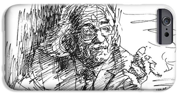 Writer iPhone Cases - Drtero agolli albanian writer iPhone Case by Ylli Haruni