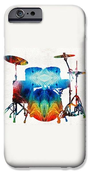 Drum Sets iPhone Cases - Drum Set Art - Color Fusion Drums - By Sharon Cummings iPhone Case by Sharon Cummings