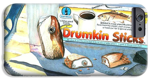 Snack Drawings iPhone Cases - Drumkin Sticks iPhone Case by Karen Rhodes