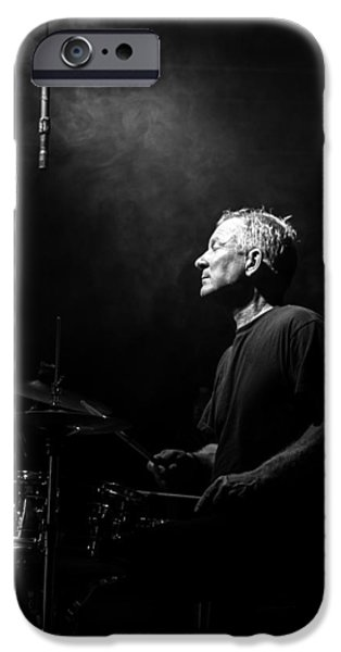 Drummer iPhone Cases - Drummer Portrait of a Muscian iPhone Case by Bob Orsillo