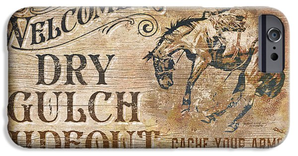 Equestrian iPhone Cases - Dry Gulch Hideout iPhone Case by JQ Licensing