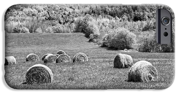 Agriculture iPhone Cases - Dry Hay Bales In Maine Farm Field iPhone Case by Keith Webber Jr