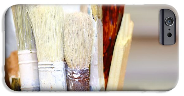 Work Tool iPhone Cases - Dry paintbrushes iPhone Case by Gregory DUBUS