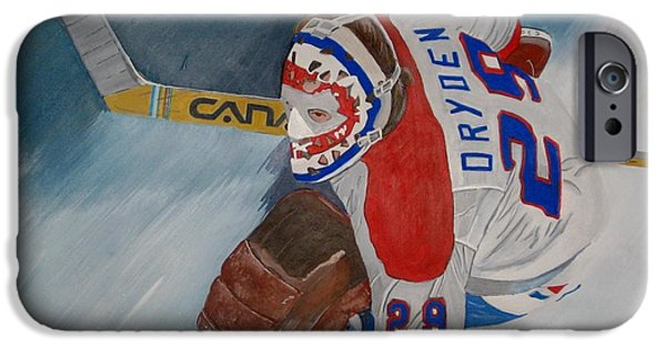 Hockey Paintings iPhone Cases - Dryden iPhone Case by Clifford Knoll