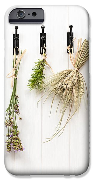 Herbs iPhone Cases - Drying Herbs With Lavender iPhone Case by Amanda And Christopher Elwell