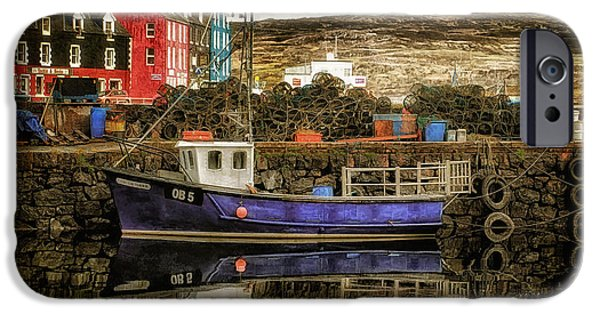 Cabin Window Digital iPhone Cases - Tobermory Isle of Mull iPhone Case by Lois Bryan