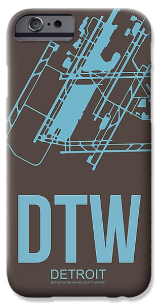 Town iPhone Cases - DTW Detroit Airport Poster 1 iPhone Case by Naxart Studio
