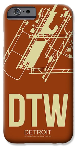Town Mixed Media iPhone Cases - DTW Detroit Airport Poster 2 iPhone Case by Naxart Studio