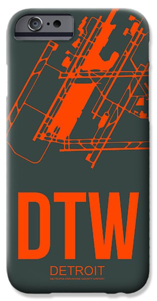 Town iPhone Cases - DTW Detroit Airport Poster 3 iPhone Case by Naxart Studio
