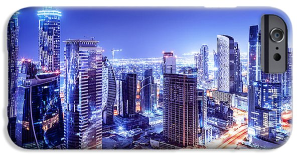 Business iPhone Cases - Dubai downtown night scene iPhone Case by Anna Omelchenko