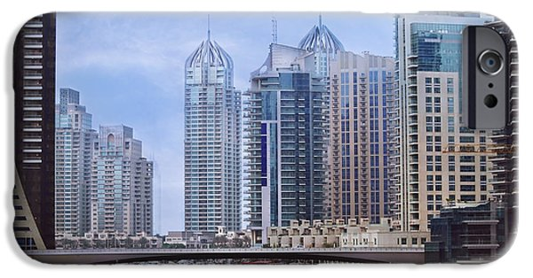 Modern Pyrography iPhone Cases - Dubai Marina iPhone Case by Jelena Jovanovic
