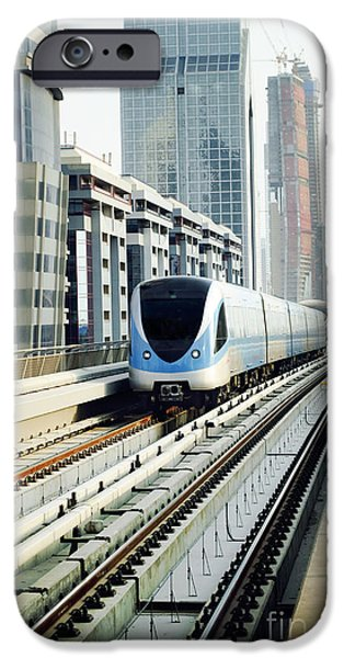 Modern Pyrography iPhone Cases - Dubai Metro iPhone Case by Jelena Jovanovic