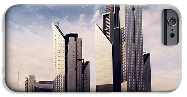 Modern Pyrography iPhone Cases - Dubai Skyline iPhone Case by Jelena Jovanovic