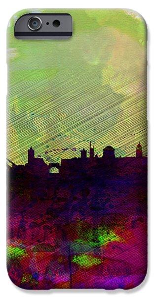 Panoramic Digital iPhone Cases - Dublin Watercolor Skyline iPhone Case by Naxart Studio