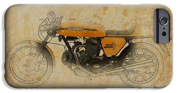 Indian Ink iPhone Cases - Ducati 750 Sport 1973 iPhone Case by Pablo Franchi