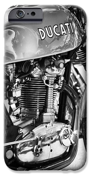 Racer iPhone Cases - Ducati Desmo MK 3 450cc Monochrome iPhone Case by Tim Gainey