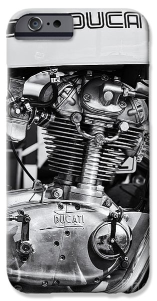 Monochrome iPhone Cases - Ducati Desmo iPhone Case by Tim Gainey
