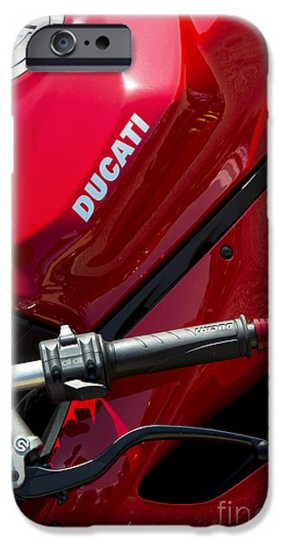 Red Abstract Photographs iPhone Cases - Ducati Red iPhone Case by Tim Gainey