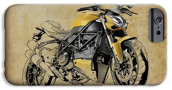 Bicycle Drawings iPhone Cases - Ducati Streetfighter 848 2012 iPhone Case by Pablo Franchi