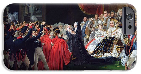 Duchess iPhone Cases - Duchess of Berry presenting the Duke of Bordeaux to the people and the army iPhone Case by Charles Nicolas Raphael Lafond