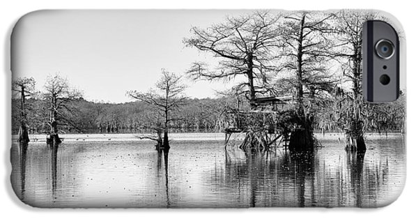 Caddo Lake iPhone Cases - Duck Blind on Caddo Lake iPhone Case by Mary Lee Dereske