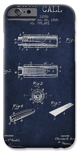 Ducks iPhone Cases - Duck Call Instrument Patent from 1905 - Navy Blue iPhone Case by Aged Pixel