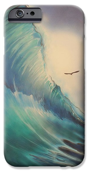 Flying Seagull Mixed Media iPhone Cases - Duck Dive iPhone Case by Stacey Heney